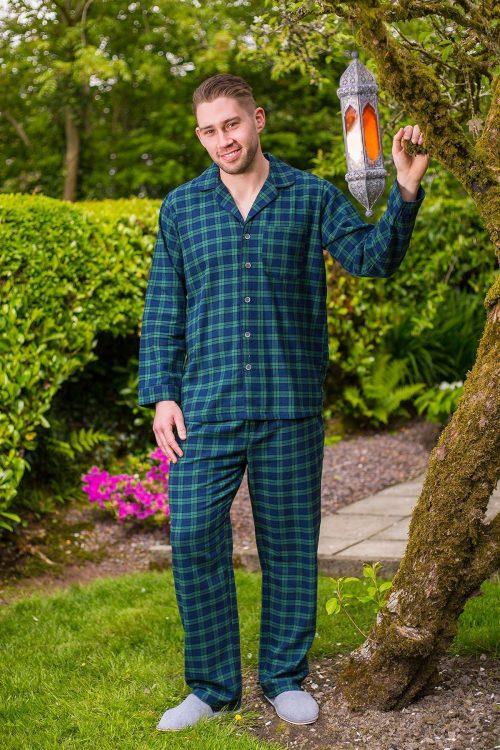 Mens Green Tartan Flannel Pajamas