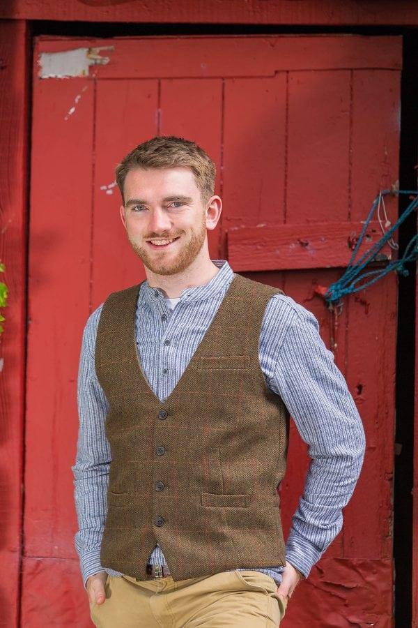Irish Moss Check Tweed Vest