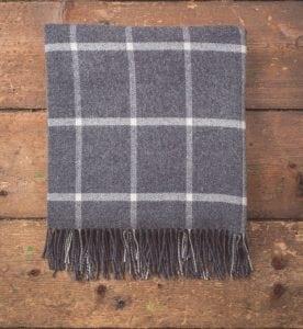 Oxford Grey Windowpane Lambswool Throw