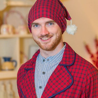 Red & Navy Check Flannel Nightcap