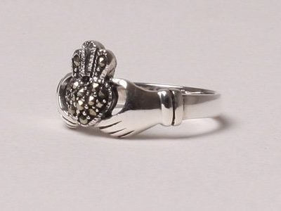 Silver Claddagh Marcasite Ring