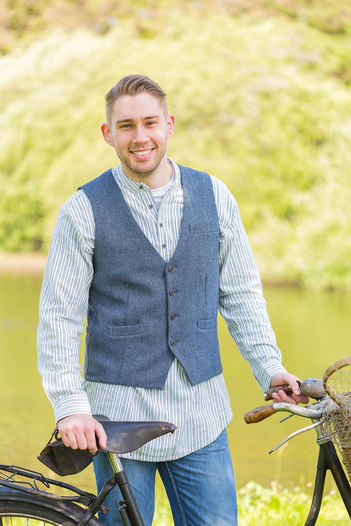 Tweed Dove Grey Herringbone Waistcoat
