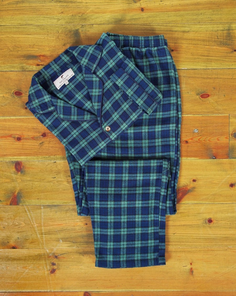 Ladies Green Tartan Flannel Pajamas