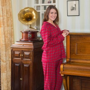 Ladies Red Tartan Flannel Pajamas