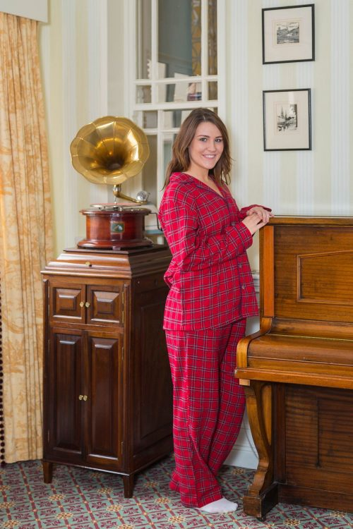 Ladies Red Tartan Flannel Pajamas