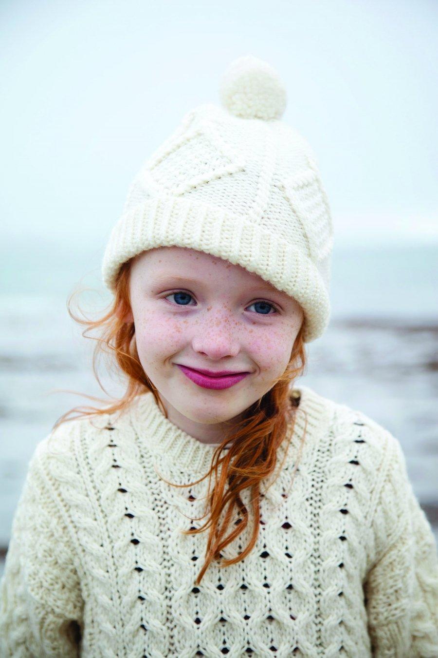Kids Aran Ski Hat Natural