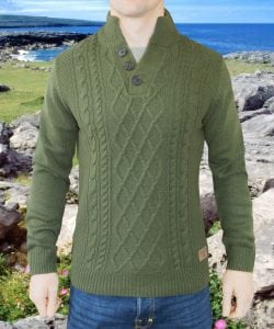 Burren - Leaf Green Aran Sweater