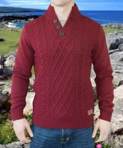 Burren - Rich Berry Marl Aran Sweater