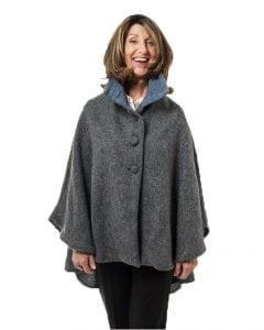 Cropped Tweed Cape Aqua Grey