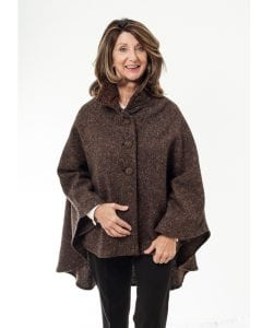 Cropped Tweed Cape Brown