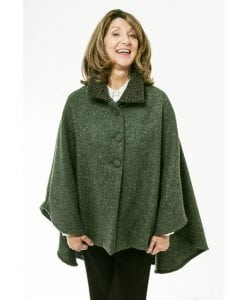 Cropped Tweed Cape Green