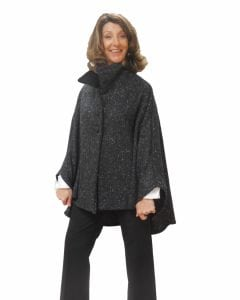 Cropped Tweed Cape Charcoal