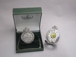 Irish Pewter Mechanical Pocket Watch Celtic Design