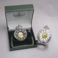 Irish Pewter Mechanical Pocket Watch Shamrock Design
