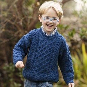 Kids Crew Neck Aran Sweater Blue