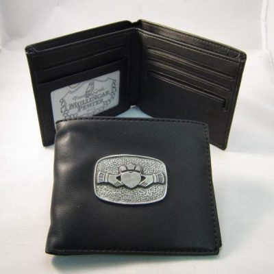 Leather Wallet with Pewter Claddagh Design