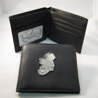 Leather Wallet with Pewter Ireland Design
