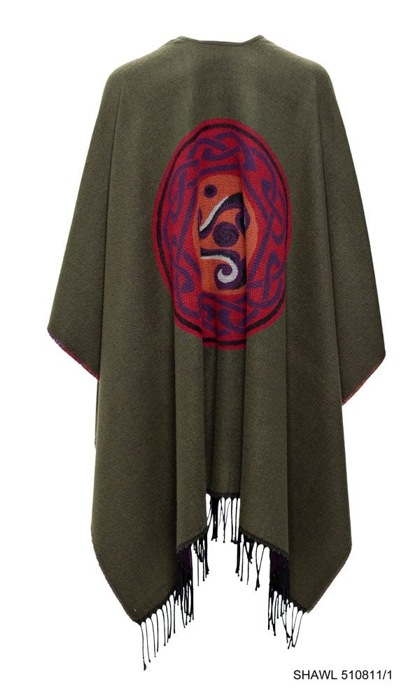 Celtic Design Moss Green Shawl With Tassles Back