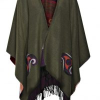 Celtic Design Moss Green Shawl With Tassles Front