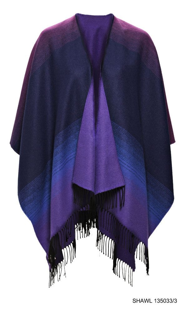 Celtic Design Purple Shawl With Tassles Front