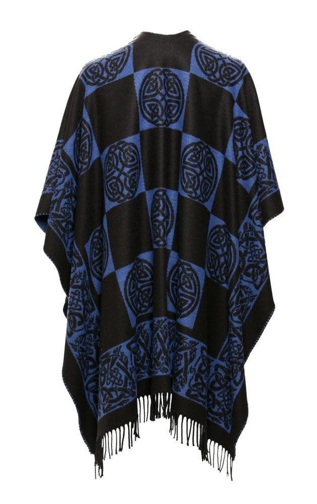 Celtic Design Royal Blue Shawl With Tassles Back