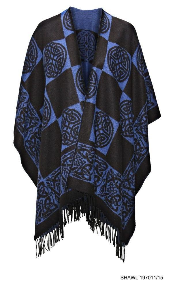 Celtic Design Royal Blue Shawl With Tassles Front