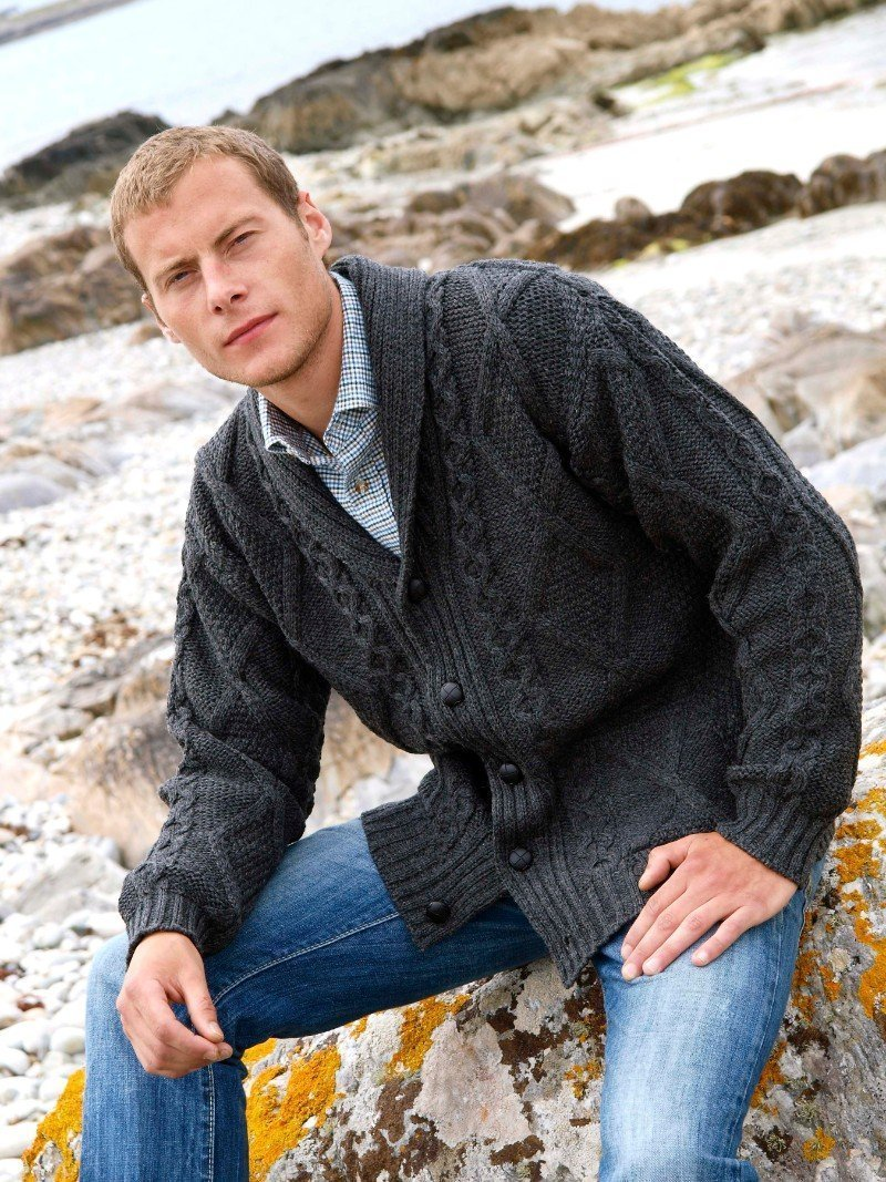 Men's Shawl Neck Full Button Cardigan