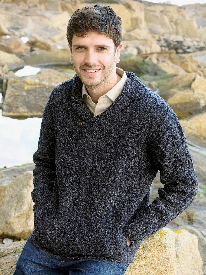 Mens Shawl Neck Sweater Cormorant Blue