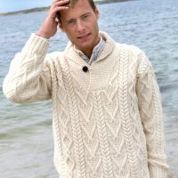 Mens Shawl Neck Sweater Natural