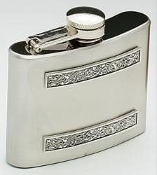 Stainless Steel Flask with Celtic Pewter Strip