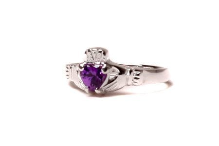 Claddagh Amethyst Birthstone Ring February