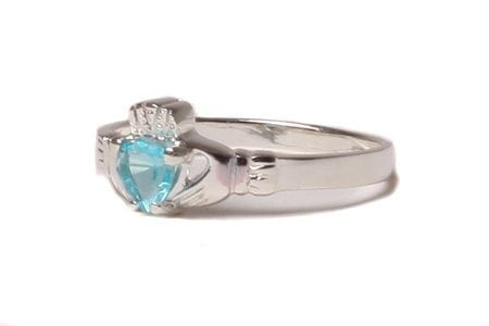 Claddagh Aquamarine Birthstone Ring March