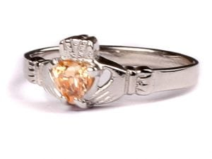 Claddagh Champagne Birthstone Ring November