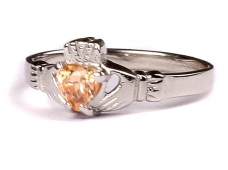 Claddagh Champagne Birthstone Ring November