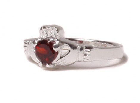 Claddagh Garnet Birthstone Ring January
