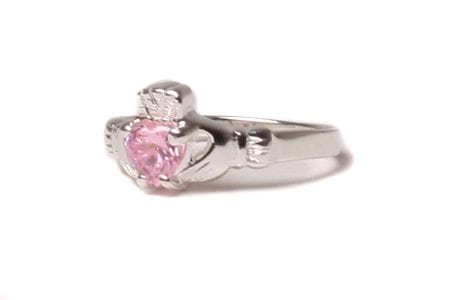 Claddagh Pink Cubic Zirconia Birthstone Ring October