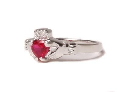 Claddagh Ruby Birthstone Ring July