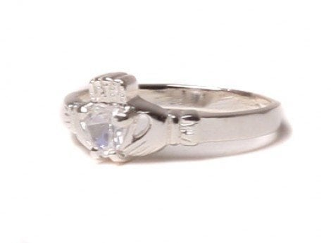 Claddagh White Cubic Zirconia Birthstone Ring April
