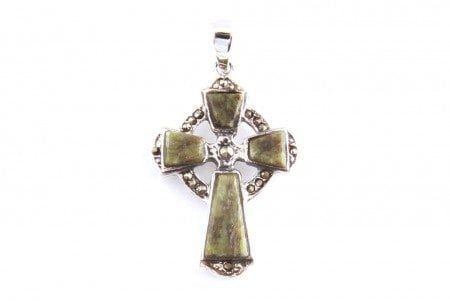 Connemara Marble And Marcasite Stone Set Silver Cross Pendant