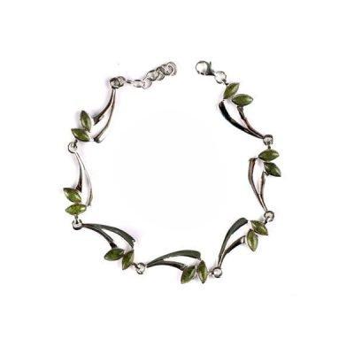Connemara Marble Stone Set Silver Celtic Bracelet