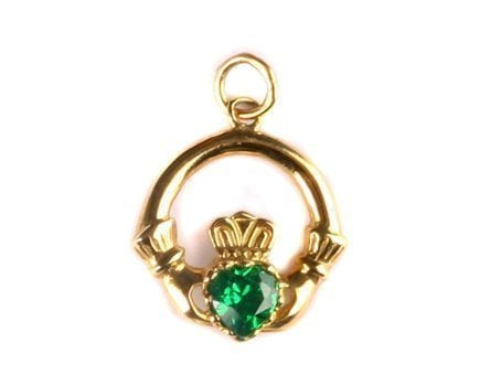 Gold Irish Claddagh Pendant with Emerald Cubic Zirconia & Chain