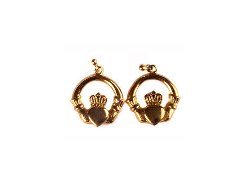 Irish Gold Claddagh Earrings