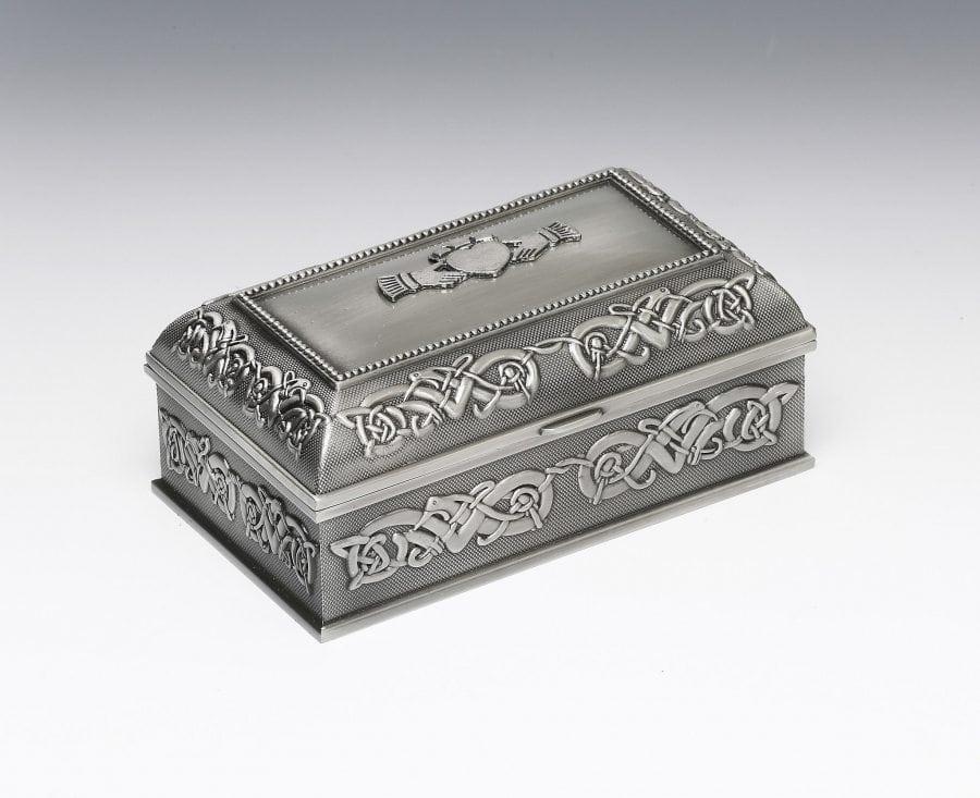 Irish Pewter Claddagh Jewelry Box