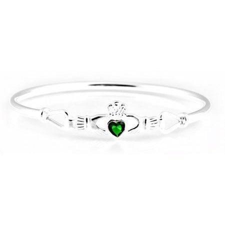 Claddagh bangle with emerald Cubic Zirconia