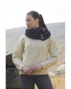 Irish Aran Crew Neck Sweater Natural Fleck