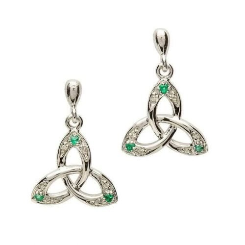 Irish Trinity Knot Earring with Emerald and Diamond