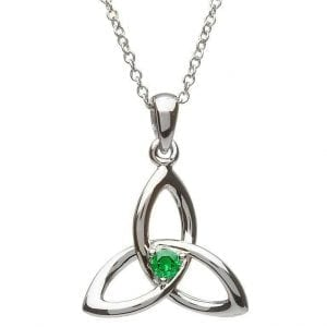 Cetlic Trinity Knot Necklace with Emerald cz stone