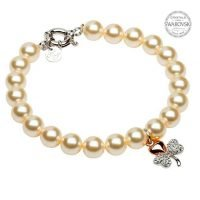 Rose Gold Plated Shamrock Pearl Bracelet with Swarovski Crystals