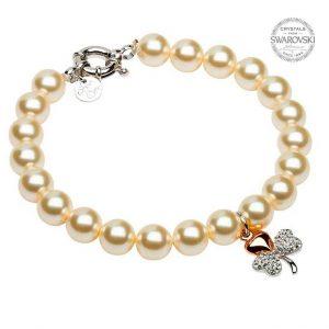 Rose Gold Plated Shamrock Pearl Bracelet with Swarovski Crystals