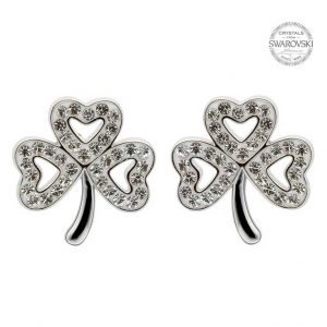 Shamrock Stud Earrings with Swarovski Crystals